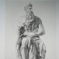 Arte: GRABADO SOBRE ESCULTURA DE MIGUEL ANGEL ( MOÏSE ), GRABADO POR J. JACQUEMART . Lote 32190002