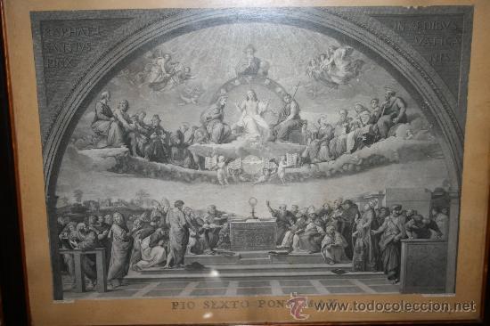 Arte: J3-002. PRECIOSO GRABADO ITALIANO DEL S.XVIII POR GIOVANNI VOLPATO. DISPUTA DEL SACRAMENTO - Foto 2 - 32212725