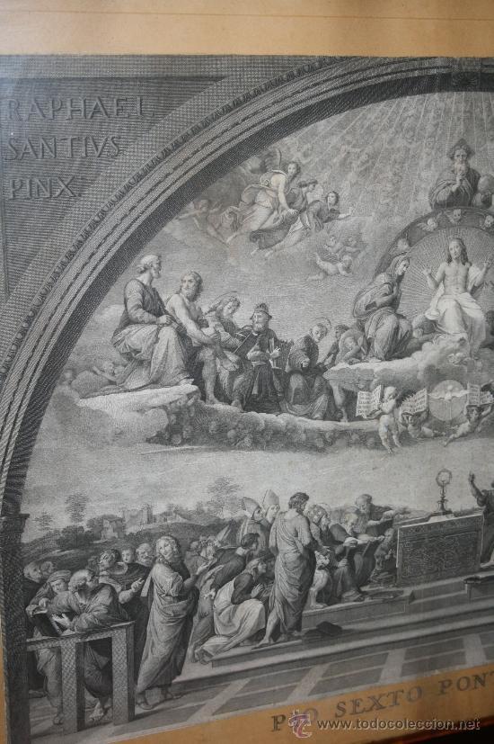 Arte: J3-002. PRECIOSO GRABADO ITALIANO DEL S.XVIII POR GIOVANNI VOLPATO. DISPUTA DEL SACRAMENTO - Foto 3 - 32212725