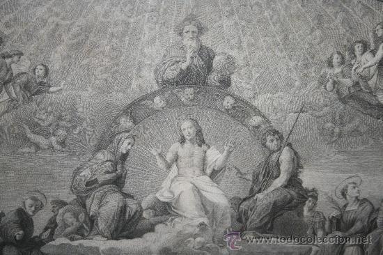 Arte: J3-002. PRECIOSO GRABADO ITALIANO DEL S.XVIII POR GIOVANNI VOLPATO. DISPUTA DEL SACRAMENTO - Foto 5 - 32212725