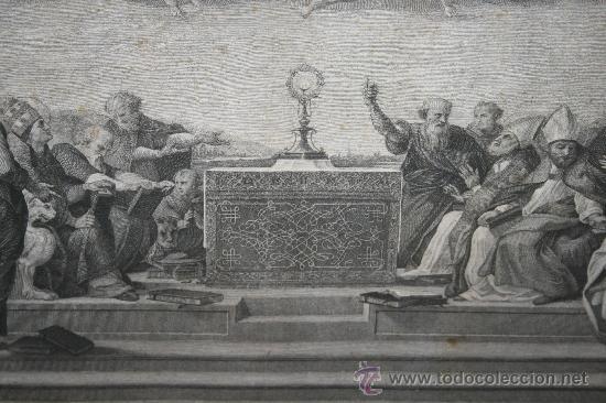 Arte: J3-002. PRECIOSO GRABADO ITALIANO DEL S.XVIII POR GIOVANNI VOLPATO. DISPUTA DEL SACRAMENTO - Foto 9 - 32212725