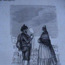 Arte: CALERESO Y MANOLA DE MADRID TRAJES.GRABADO DE 1845.11X7.J ABRIAL DIBUJO.ORTEGA GRABO. Lote 32365864
