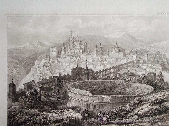 1840-VISTA DE SEGOVIA.ACUEDUCTO.GRABADO ORIGINAL DE EIGENTBUM D. VERLEGER (Arte - Grabados - Modernos siglo XIX)