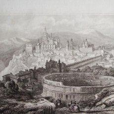 Arte: 1840-VISTA DE SEGOVIA.ACUEDUCTO.GRABADO ORIGINAL DE EIGENTBUM D. VERLEGER. Lote 32647406