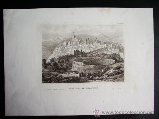 Arte: 1840-VISTA DE SEGOVIA.ACUEDUCTO.GRABADO ORIGINAL DE EIGENTBUM D. VERLEGER - Foto 2 - 32647406