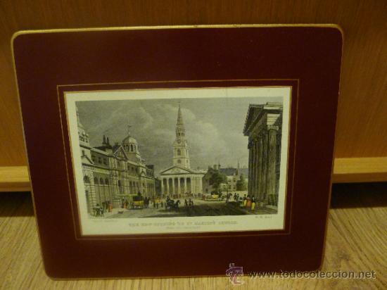 Arte: Antigua lamina o grabado montado en chapa - Foto 2 - 32905418