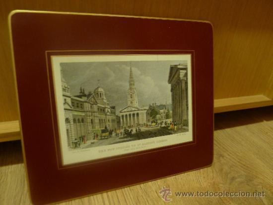 Arte: Antigua lamina o grabado montado en chapa - Foto 3 - 32905418