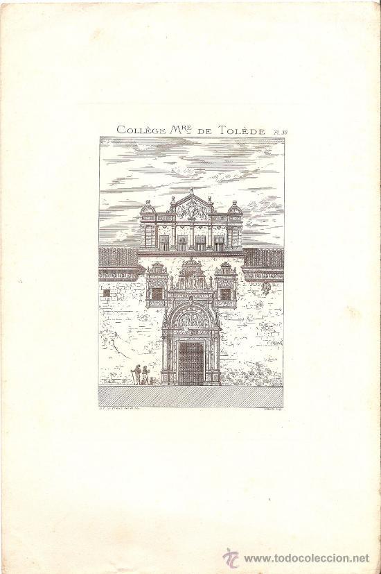 ANTIGUO GRABADO DEL ACTUAL MUSEO DE SANTA CRUZ EN TOLEDO (Arte - Grabados - Antiguos hasta el siglo XVIII)