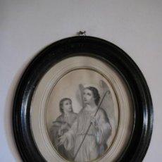 Arte: CUADRO ANTIGUO CON LITOGRAFIA DE SAN RAFAEL. SIGLO XVIII-XIX.. Lote 33294150