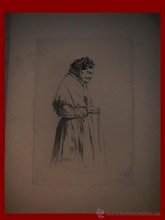 ANTIGUO GRABADO FRANCÉS ABUELA CON ROSARIO (Arte - Grabados - Modernos siglo XIX)
