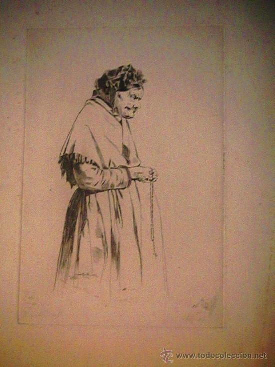 Arte: antiguo grabado francés abuela con rosario - Foto 2 - 33420389