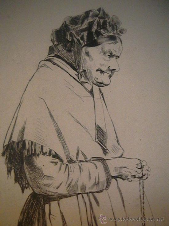 Arte: antiguo grabado francés abuela con rosario - Foto 3 - 33420389