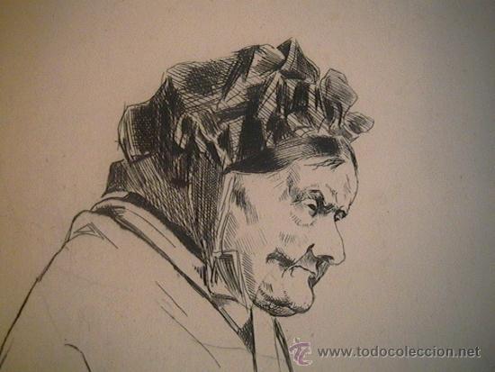Arte: antiguo grabado francés abuela con rosario - Foto 6 - 33420389
