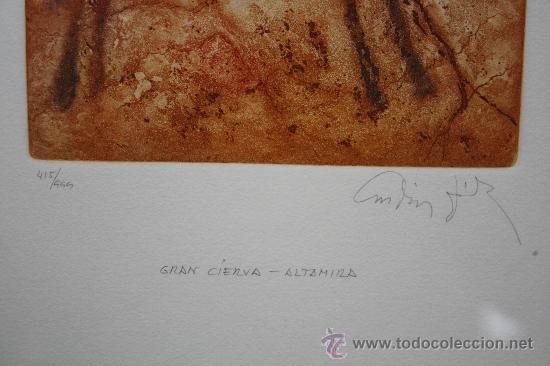 Arte: GRAN CIERVA, ALTAMIRA, CANTABRIA. AGUAFUERTE, AGUATINTA Y PUNTA SECA, DE A. DÍEZ JIMÉNEZ. FIRMADO Y - Foto 5 - 33435947