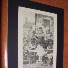 Arte: GRABADO 1883 - FRUTERA ROMANA - ENRIQUE SERRA, ILUSTRADOR. Lote 33828732
