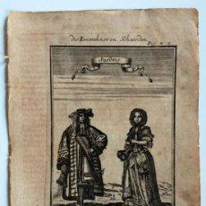 Arte: EXTRAORDINARIO GRABADO ORIGINAL DEL SIGLO XVII (CIRCA 1660), RETRATO DE UN MATRIMONIO. Lote 34101101
