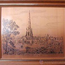 Arte: GRABADO SOBRE COBRE DEL CASTILLO DE HINCKLEY VISTO DESDE LA COLINA EN 1849. Lote 34443851