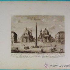 Arte: VEDUTA PIAZZA DEL POPOLO, ROMA. GRABADO PLANCHA COBRE.. Lote 35119074