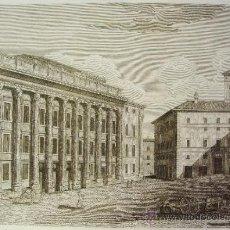 Arte: VEDUTA DEL TEMPIO D'ANTONINO PIO, ROMA. GRABADO PLANCHA COBRE.. Lote 35119383