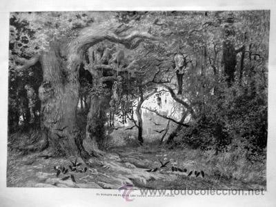 ANTIGUO GRABADO : EL BOSQUE DE PLESSIS LES TOURS, DIBUJO POR J.PAHISSA. 1885. ILUSTRACIÓN ARTÍSTICA (Arte - Grabados - Modernos siglo XIX)