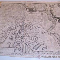 Arte: ZARAGOZA. GRABADO ORIGINAL BATALLA DE ZARAGOZA 1710. RAPINS-TINDALS S. XVIII. Lote 35517846