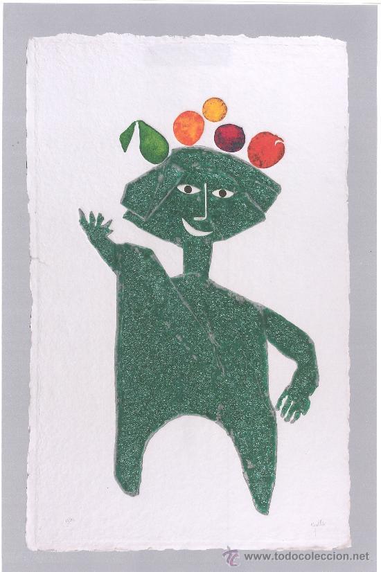 JOAN/JUAN G. RIPOLLÉS : HOMBRE DE LA FRUTA. GRABADO Y TÉC. MIXTA 15/50, 121X75 CM. CERT. DEL AUTOR (Arte - Grabados - Contemporáneos siglo XX)