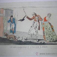 Arte: PRECIOSO GRABADO LE DÉSAGRÉMENT D'ALLER À PIED. Nº 1 DE L'ELEGANCE PARISIENNE 1800. Lote 35626580