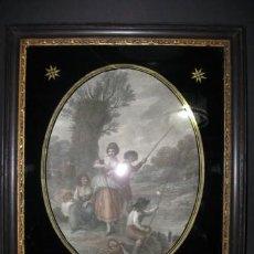 Arte: WILLIAM HAMILTON, IMPRESION ILUMINADA ORIGINAL DE FRANCESCO BARTOLOZZI, 1790. MARCO ORIGINAL . Lote 35725698