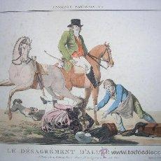 Arte: PRECIOSO GRABADO LE DÉSAGRÉMENT D'ALLER À CHEVAL. Nº 2 DE L'ELEGANCE PARISIENNE . Lote 35730631