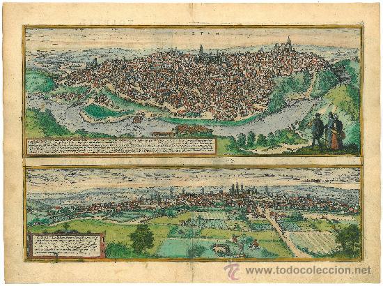 GRABADO DE LAS VISTAS DE TOLETUM (TOLEDO) Y VALLISOLETUM (VALLADOLID) / AÑO 1598 (Arte - Grabados - Antiguos hasta el siglo XVIII)