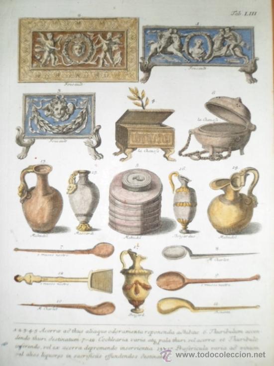 ANTIGUOS INCENSARIOS, JARRAS Y CUCHARAS ROMANAS, 1757, MONTFAUCON (Arte - Grabados - Antiguos hasta el siglo XVIII)