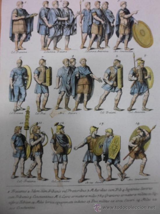 TRAJES MILITARES ROMANOS, 1757, MONTFAUCON (Arte - Grabados - Antiguos hasta el siglo XVIII)