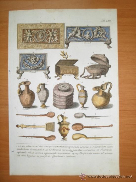 Arte: Antiguos incensarios, jarras y cucharas romanas, 1757, Montfaucon - Foto 2 - 36110608