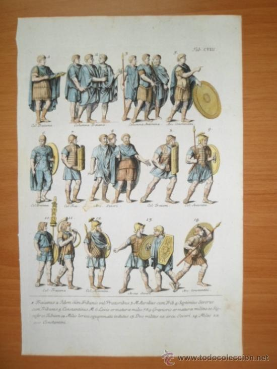 Arte: Trajes militares romanos, 1757, Montfaucon - Foto 2 - 36110984