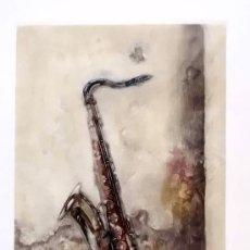 Arte: PRECIOSO GRABADO SAXOFÓN - MEDIDAS 19X13,5. Lote 36116254