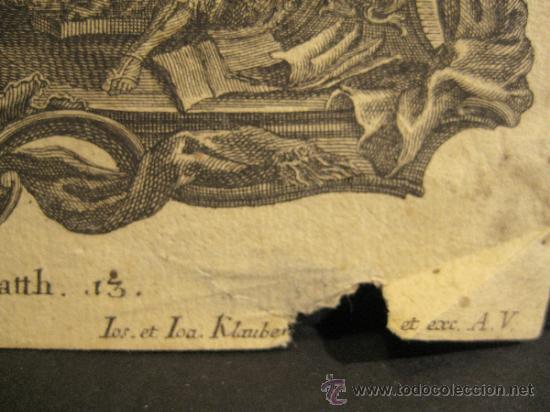 Arte: GRABADO DE JOSEPH Y JOHANN KLAUBER. GRABADORES ALEMANES, SIGLO XVIII. 9,5 X 14,5 CM - Foto 2 - 36240865