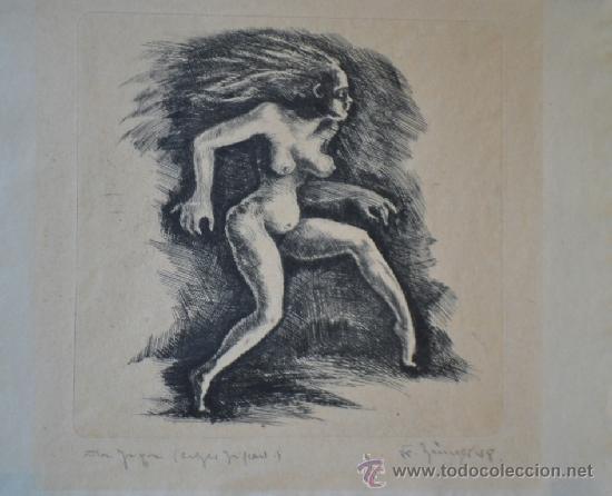 1948 -INTERESANTE GRABADO EROTICO TITULADO, FIRMADO Y DATADO (Arte - Grabados - Contemporáneos siglo XX)