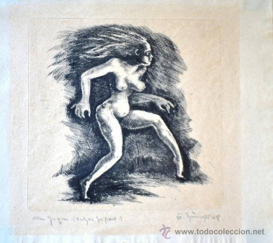 Arte: 1948 -INTERESANTE GRABADO EROTICO TITULADO, FIRMADO Y DATADO - Foto 2 - 36521416