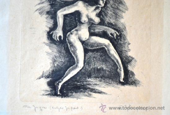 Arte: 1948 -INTERESANTE GRABADO EROTICO TITULADO, FIRMADO Y DATADO - Foto 3 - 36521416