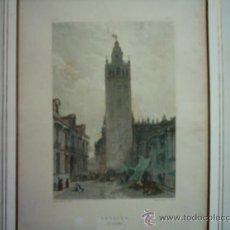 Arte: JOHN FREDERICK LEWIS (1805-1876). SEVILLA, LA GIRALDA. 1833. ENGRAVED BY EDWARD FINDEN (1791-1857). Lote 36546521