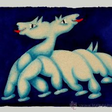 Arte: JOAN/JUAN GARCÍA RIPOLLÉS: DRAGÓN DE DOS CABEZAS. GRABADO Y TÉCNICA MIXTA (52X75 CM.). EJ. 18/50 F. Lote 36662267