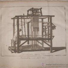 Arte: 1780. ENORME GRABADO DE DIDEROT Y ALEMBERT. HOMBRE EN TELAR. 53 X 43 CM.. Lote 36674292