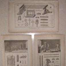 Arte: AÑO 1780. EXTRAORDINARIO CONJUNTO E 3 GRABADOS. GRAN TAMAÑO. BORDADO. HILADO. DIDEROT.. Lote 36674560
