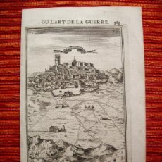 Arte: 1667- CASTILLO Y PUEBLO DE ALBURQUERQUE. BADAJOZ. GRABADO ORIGINAL. Lote 36924741