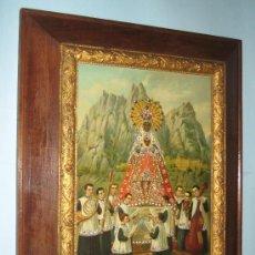 Arte: PRECIOSO GRABADO, LAMINA, VIRGEN MONTSERRAT ENMARCADA MADERA NOGAL, ESTILO ISABELINO, SIGLO XIX,. Lote 36168572