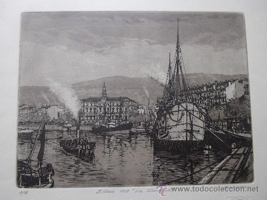 GRABADO BILBAO 1910 LA SENDEJA JOSE Mª DEL VALLE BOURGON BARCO MARINA NAUTICA INDUSTRIAL PUERTO (Arte - Grabados - Contemporáneos siglo XX)