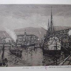 Arte: GRABADO BILBAO 1910 LA SENDEJA JOSE Mª DEL VALLE BOURGON BARCO MARINA NAUTICA INDUSTRIAL PUERTO. Lote 68809562