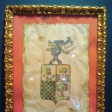Arte: ESCUDO NOBILIARIO EN PERGAMINO PINTADO. CON MARCO.. Lote 37509905