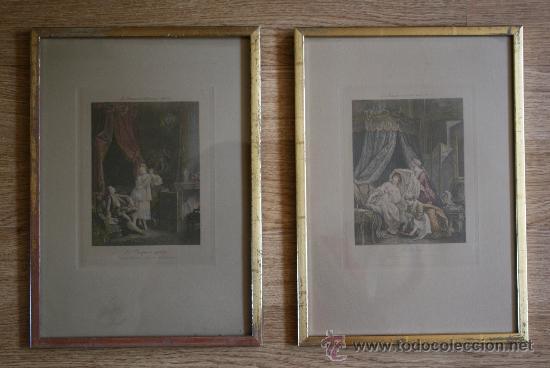 EXTRAORDINARIA PAREJA CUADROS GRABADOS FRANCESES SIGLO XVIII: LES ESTAMPES DU XVIII SIECLE (Arte - Grabados - Antiguos hasta el siglo XVIII)