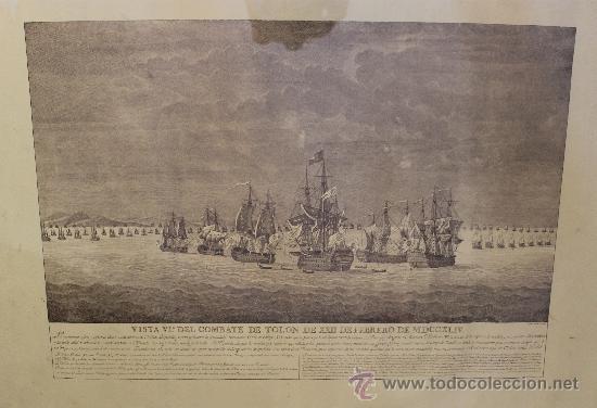 MAGNIFICO GRABADO BARCOS NAVAL DE SIMON BRIEVA: VISTA VI COMBATE DE TOLON MDCCXLIV SIGLO XVIII (Arte - Grabados - Antiguos hasta el siglo XVIII)